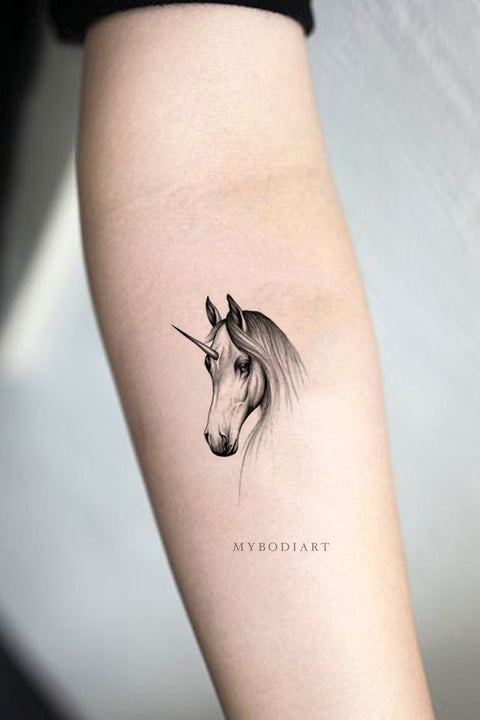 Cute Realistic Black Unicorn Horse Temporary Forearm Tattoo Ideas for Women Sketch Drawing - www.MyBodiArt.com
