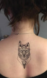 Geometric Wolf Back Tattoo Ideas for Women - Cool Unique Fox Animal Spine Tat -www.MyBodiArt.com