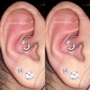 Unique Multiple Cool Moon Crystal Daith Ear Piercing Jewelry Ideas Horseshoe Barbell Earring- www.MyBodiArt.com #daith