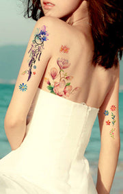 Cute Watercolor Floral Flower Back Tattoo Ideas for Women - www.MyBodiArt.com
