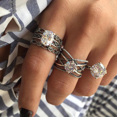 Beautiful Fashion Crystal Ring Jewelry for Women - Everyday Antique Vintage Stackable Large Crystal Band Ring Set 3 Pieces - hermoso anillo de cristal - www.MyBodiArt.com #rings