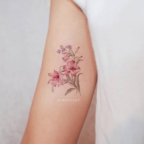 Pink Watercolor Floral Flower Bicep Arm Tattoo Ideas for Women - www.MyBodiArt.com