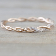 Cute Simple Minimalist Twist Crystal Ring Rose Gold Fashion Jewelry for Women  -  lindos anillos - www.MyBodiArt.com
