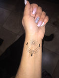 Feminine Boho Tribal Moon Wrist Tattoo Ideas for Women - www.MyBodiArt.com #tattoo