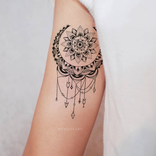 Cahita Black Geometric Mandala Lotus Star Temporary Tattoo