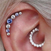 Cute Daith Ear Piercing Ideas Crystal Clicker Jewelry for Women -  ideas de piercing de oreja para las mujeres - www.MyBodiArt.com
