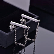 Hana Minimalist Bar & Drop Chain Ear Jacket Earring in Silver - www.MyBodiArt.com #earrings