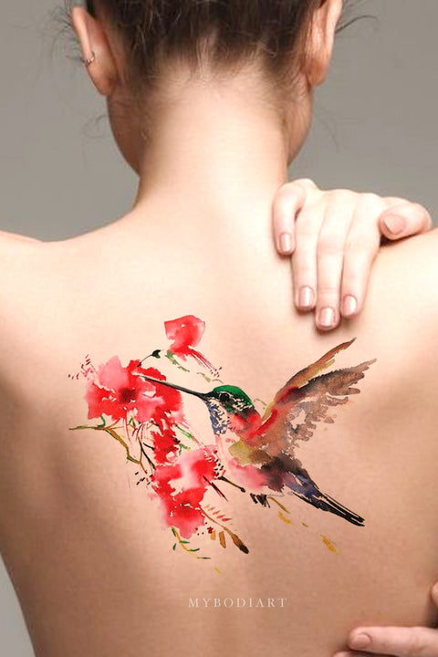 Beautiful Watercolor Pink Hummingbird Back Spine Temporary Tattoos Ideas for Women - www.MyBodiArt.com