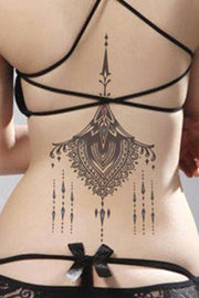 Tribal Chandelier Mandala Back Spine Tattoo Ideas for Women - Lotus Underboob Tat  - tribal mandala ideas de tatuaje para mujeres - www.MyBodiArt. com