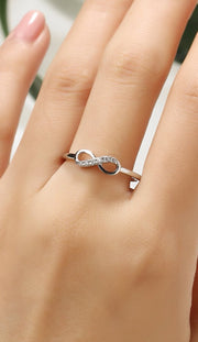 Dainty Crystal Infinity Ring - Crystal Infiniti Anniversary Promise Engagement Stackable Fashion Rings in Gold or Silver -delicado anillo de cristal infinito - www.MyBodiArt.com #rings