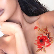 Cute Watercolor Floral Flower Shoulder Chest Tattoo Ideas for Women -  Ideas lindas del tatuaje del hombro de la flor para las mujeres - www.MyBodiArt.com