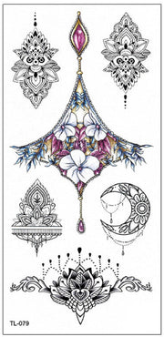 Beautiful Watercolor Floral Flower Chandelier Sternum Black Temporary Tattoo Art Design Ideas Women's Teens Girls - www.MyBodiArt.com #tattoos