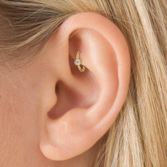 Cute Daith Rook Ear Piercing Ideas for Women - Simple Swarovski Crystal Rook Small Gold Earring Ring Hoop 16G -  lindas ideas para perforar orejas para mujeres - www.MyBodiArt.com