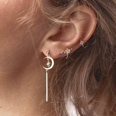 Boho Cute Multiple Ear Piercing Ideas - Dangle Moon Star Cartilage Tragus Triple Forward Helix Jewelry Ear Cuff in Gold  - lindas orejas piercing ideas para las mujeres - www.MyBodiArt.com