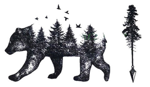 Unique Bear Tree Landscape Tattoo Ideas for Women - www.MyBodiArt.com