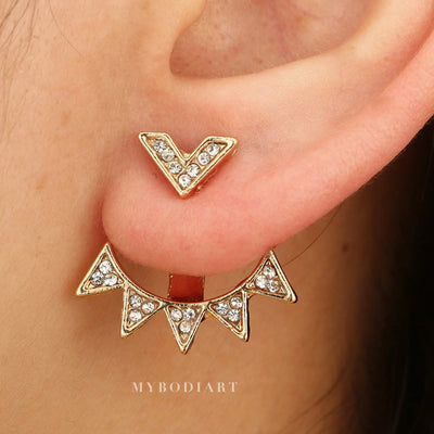 Cute Starburst Triangle Crystal Ear Jacket Earrings for Women -  lindos aretes - www.MyBodiArt.com