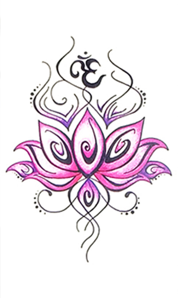 Tribal Pink Watercolor Lotus Temporary Tattoo Ideas for Women Bohemian Boho Chic Floral Flower Tattoos - www.MyBodiArt.com