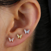 Cute Triple Butterfly Ear Lobe Ear Piercing Jewelry Ideas for Women - www.MyBodiArt.com #earrings