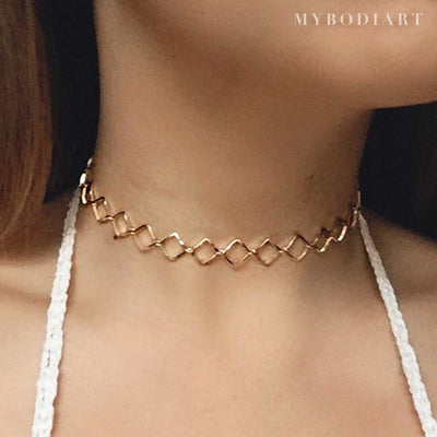 Unique Geometric Diamond Choker - Cute Dainty Necklace Jewelry for Teen Girls or Women - lindo collar de gargantilla de diamantes - www.MyBodiArt.com #necklace