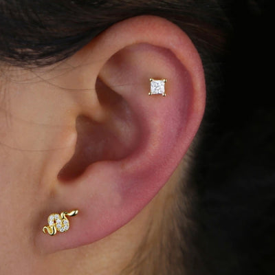 Cute Gold Snake Ear Piercing Jewelry Ideas for Women - www.MyBodiArt.com #earpiercings