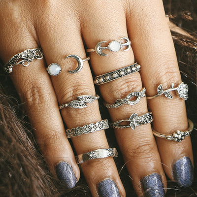 Boho Rings Set Moonstone Flower Vintage Silver Gold Antiqued Stackable Gypsy Hippie Ring - anillo bohemio para mujer - www.MyBodiArt.com #rings