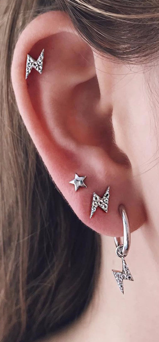Cute Multiple Ear Piercing Ideas Lightening Bolt Studs Hoop Dangle Earrings in Silver for Women - Cartilage Earrings - www.MyBodiArt.com #earrings