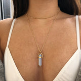 Cute Opal Necklace Ideas - Simple Layered Statement Gemstone Choker in Gold for Teen Girls or Women - gargantilla de collar de ópalo en capas - www.MyBodiArt.com #necklace