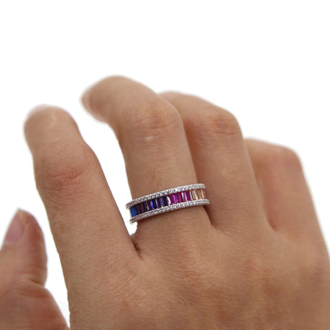 Rainbow Baguette Ring - Cute Chunky Gemstone Crystal Stone Pave Multiple Stacking Stackable Band Rings Statement Fashion Jewelry for Women for Teens in Silver - lindos anillos arcoiris gruesos - www.MyBodiArt.com