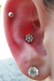 Cute Ear Piercing Ideas - Conch Crystal Flower Barbell 16G Earring Jewelry at MyBodiArt.com