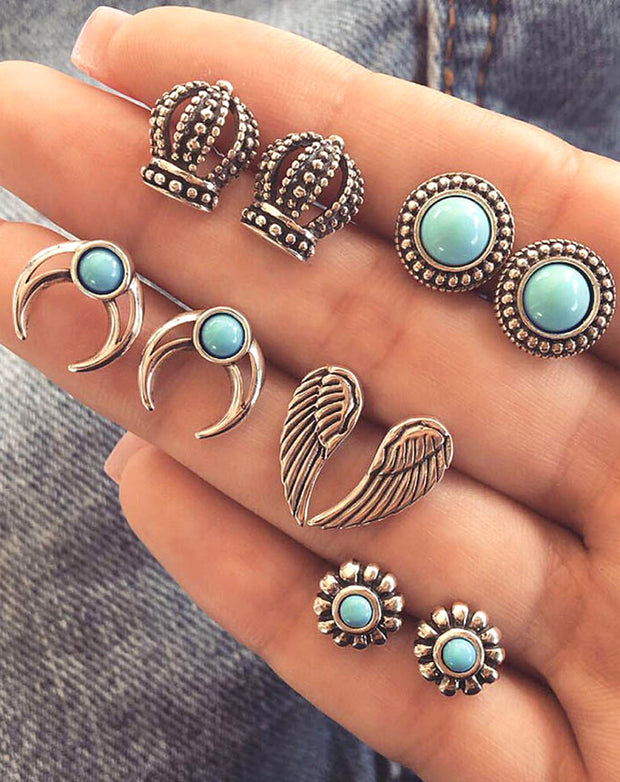 Cute Boho Turquoise Earring Studs Set Vintage Traditional Antique Old Fashioned VictorianCrown Angle Wings Moon Earrings - www.MyBodiArt.com #earrings
