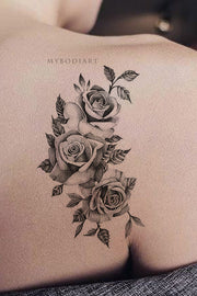 Vintage Black Rose Outline Shoulder Back Tattoo Ideas for Women -  ideas de tatuaje de hombro rosa- www.MyBodiArt.com #tattoos
