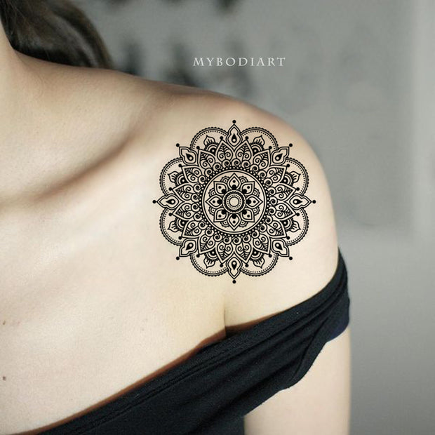 Tribal Boho Black Mandala Shoulder Tattoo Ideas for Women - www.MyBodiArt.com #tattoos