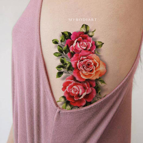Traditional Realistic Watercolor Floral Rose Side Rib Tattoo Ideas for Women -  Ideas de tatuaje de costilla rosa vintage para mujeres - www.MyBodiArt.com