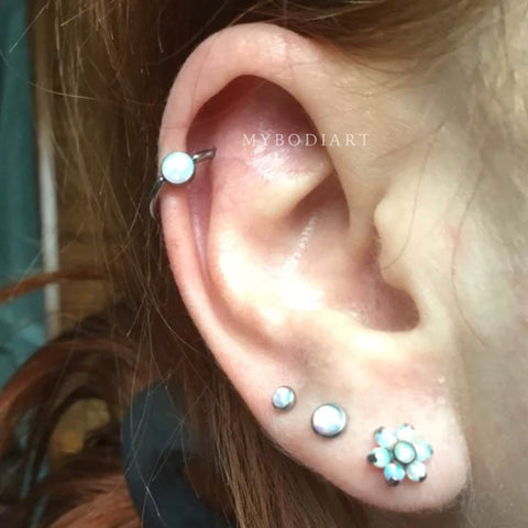 Cool Multiple Ear Piercing Ideas Jewelry for Women Opalite Cartilage Helix Ring Earring -  Ideas simples para perforar los oídos de las mujeres - www.MyBodiArt.com