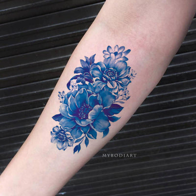 Cute Beautiful Blue Floral Flower Vintage Forearm Temporary Tattoo Ideas for Women - www.MyBodiArt.com #tattoos