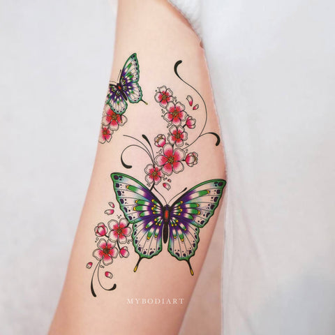 Butterfly Watercolor Floral Flower Arm Temporary Tattoo Ideas for Women -  Ideas de tatuajes de flores para las mujeres - www.MyBodiArt.com