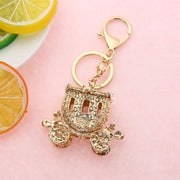 Cute Crystal Carriage Charm Keychain Keyring Key Fob Fashion Accessories Jewelry Purse Bag - www.MyBodiArt.com