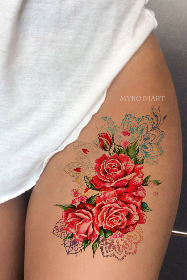 Unique Watercolor Rose Thigh Temporary Tattoo Ideas for Women -   ideas de tatuaje rosa - www.MyBodiArt.com