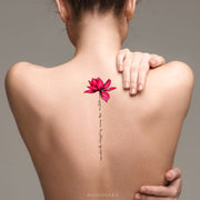 Cute Watercolor Pink Lily Lotus Script Quote Spine Tattoo Ideas for Women - Back Floral Flower Tattoos - ideas de tatuajes de acuarela lotus script para las mujeres - www.MyBodiArt.com
