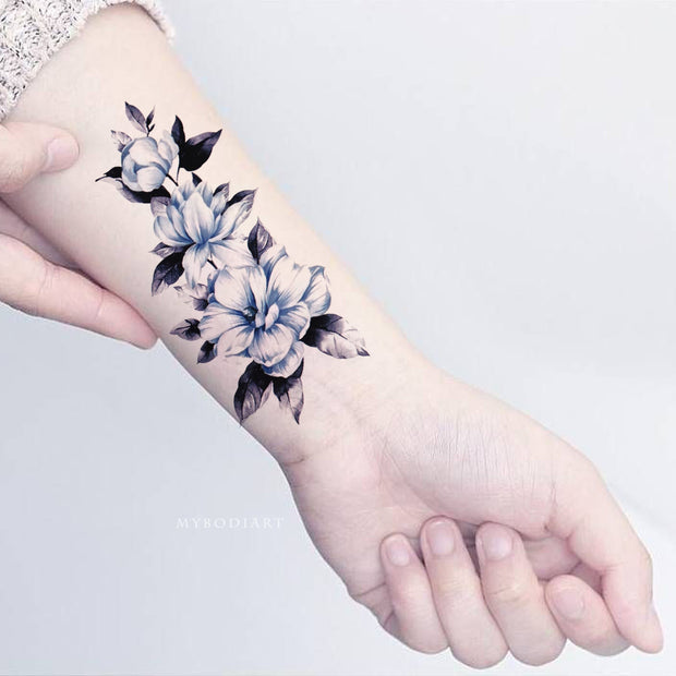 Beautiful Watercolor Blue Floral Flower Wrist Tattoo Ideas for Women -  azul acuarela muñeca flor tatuaje ideas - www.MyBodiArt.com #tattoos