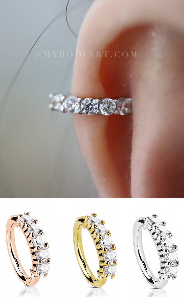 Dainty Ear Piercing Ideas for Women - Classy Top Ear Cuff Crystal 18G Segment Ring Hoop for Daith, Cartilage, Helix, Conch, Orbital, Rook, Tragus, Septum, Nipple - Delicadas orejas Piercing Ideas para mujeres  -  www.MyBodiArt.com #earrings