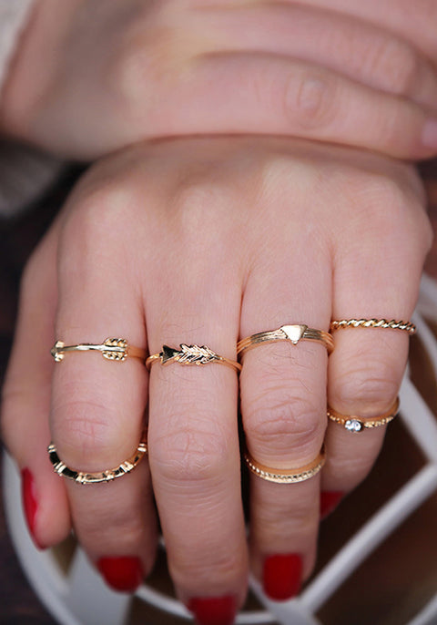 Simple Dainty Gold Ring Set Stackable Crystal Arrow Midi Ring Fashion Jewelry - anillo elegante de oro simple para mujer - www.MyBodiArt.com #rings