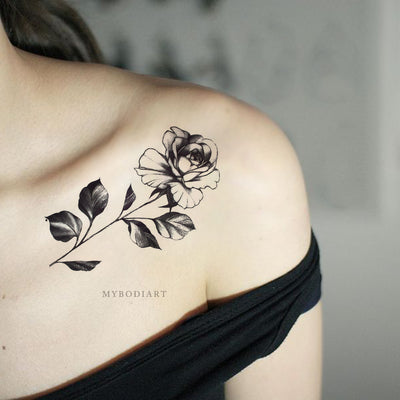 Popular Vintage Single Black Rose Shoulder Tattoo Ideas for Women - Floral Flower Tattoos ideas populares tradicionales del tatuaje de la rosa del negro solo para las mujeres - www.MyBodiArt.com