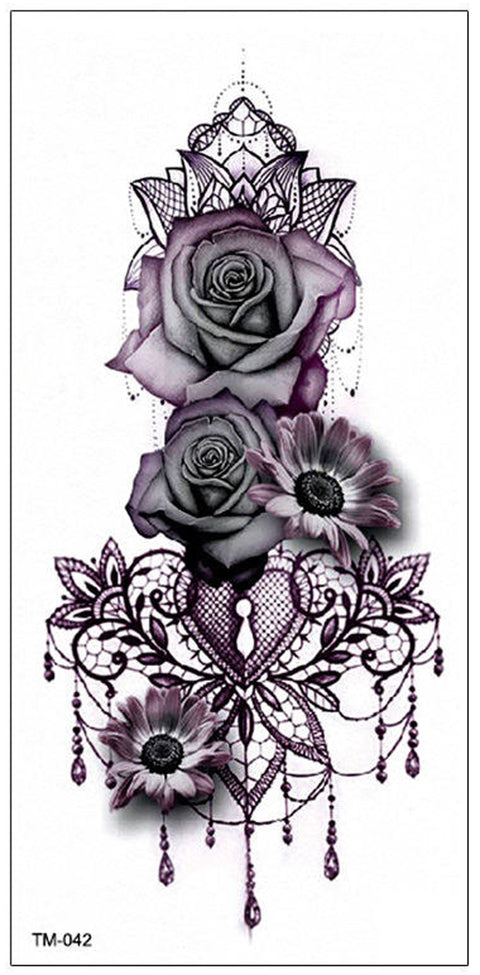 eac0791a1 Gothic Rose Mandala Chandelier Back Tattoo ideas for Women - Traditional  Vintage Cool Unique Geometric Black