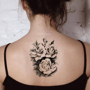 Popular Black Rose Floral Flower Back Spine Tattoo Ideas for Women -  Ideas de tatuajes populares para las mujeres -www.MyBodiArt.com