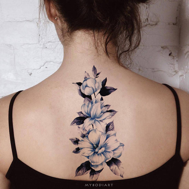 Cute Blue Watercolor Floral Flower Back Spine Tattoo Ideas for Women -  Ideas de tatuaje de flores de acuarela azul para mujeres - www.MyBodiArt.com