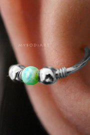 Cute Conch Silver Ear Piercing Ideas for Women Green Opal Ear Cuff Gold Earring 16G -  lindas ideas para perforar orejas - www.MyBodiArt.com