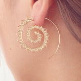 Boho Ear Piercing Ideas - Modern Trendy Ethnic Earrings Hoop Spiral Mandala in Gold or Silver -  ideas bohemias de perforación de la oreja -  pendientes étnicos de aro - www.MyBodiArt.com