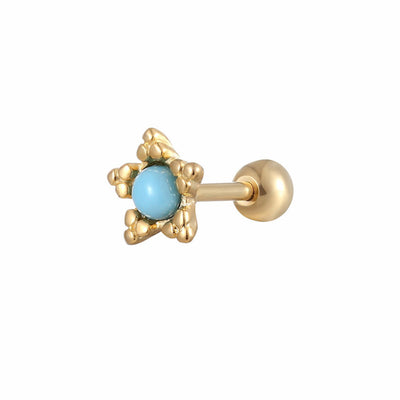 Turquoise Gold Star Ear Piercing Jewelry 16G Cartilage Helix Conch Tragus Earring Stud - www.MyBodiArt.com