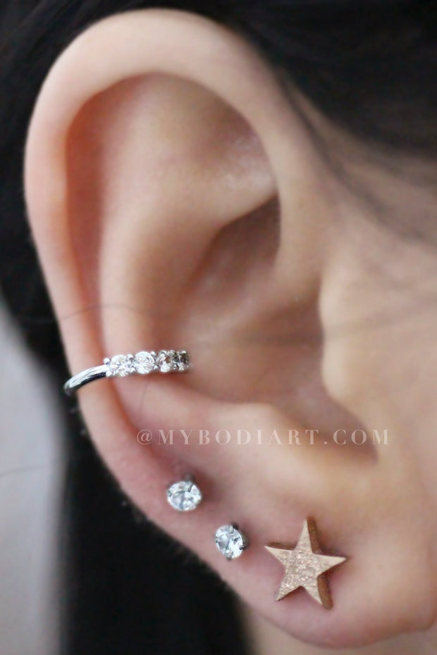 Cute Ear Piercing Ideas Combinations - www.MyBodiArt.com #earrings